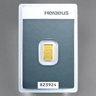 Heraeus 999 Feingold 1 - 5 - 10 Gramm Gold Barren mit Zertifkat * sehr edel * 3