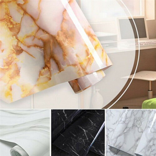 New Marble Contact Paper Self Adhesive Glossy Worktop Peel Stick