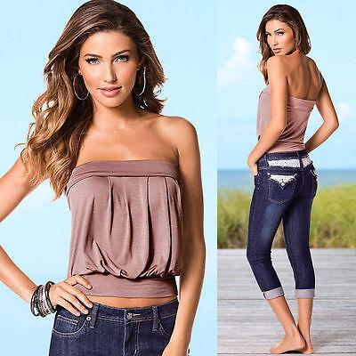 56bcddcc1c ... Women s Sleeveless Strapless Tube Vest Blouse T-shirts Bandeau Stretch Tank  Tops 2