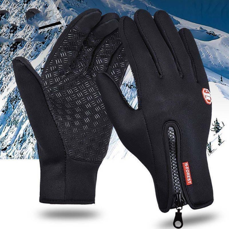 Winter Warm Windproof Waterproof Anti-slip Thermal Touch Screen Gloves Zipper UK 2