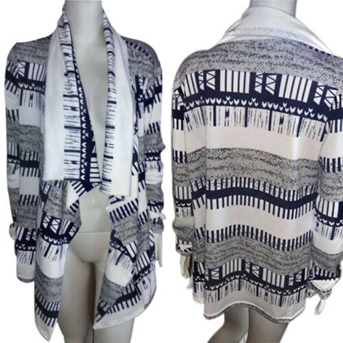 US Womens Boho Long Sleeve Waterfall Cardigan Knitwear Jumpers Sweater Coat Tops