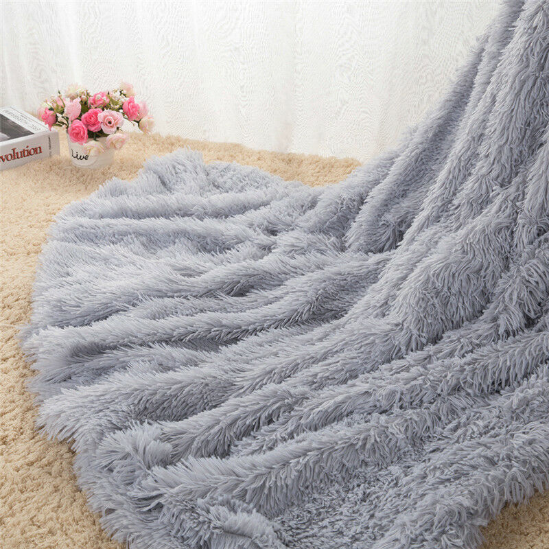 Long Pile Throw Blanket Super Soft Faux Fur Warm Shaggy Cover 160x200/130cm AU