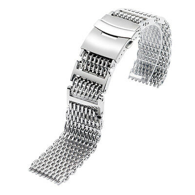 Milanaise Shark Mesh Watchband Black Stainless Steel Metal 316L Pilot 4x H-Links