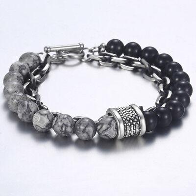 Bracciale catena acciaio uomo con pietra dure in onice nero da braccialetto 3