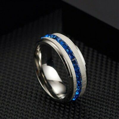 8MM Blue/White Cz Bands Men's Titanium Steel Silver/Black Brushed Ring Size 7-11 7