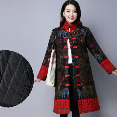 Femme Manteau Long Veste Chinois Ethnique Floral Matelassé Rembourré Hiver Pull