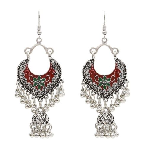 Vintage Sliver Bollywood Jewelry Meenakari Jhumki Jhumka Drop Earrings for Women 2