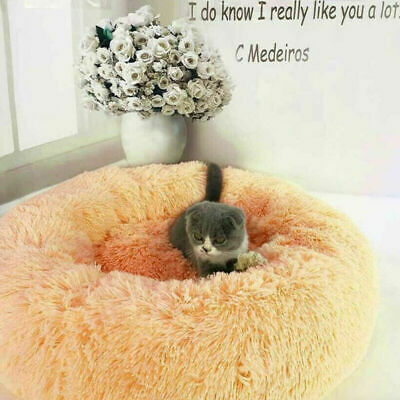 US Fur Donut Cuddler Pet Calming Bed Dog Beds Soft Warmer Medium Small Dogs Cats 7