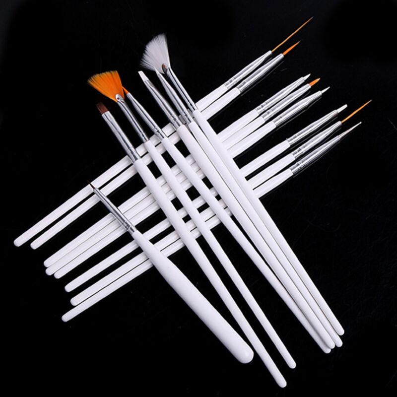 20Pc Nail Art Design Painting Dotting Detailing Pen Brushes Bundle Tool Kit UK