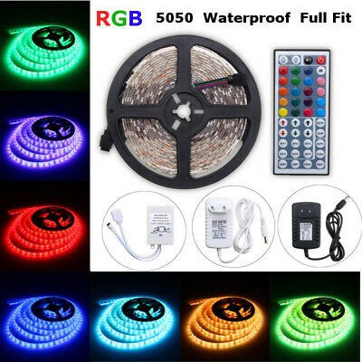 LED Strip Light 5050SMD RGB 5M 300 Waterproof 12V IR Controller W/ Power Adaptor 3
