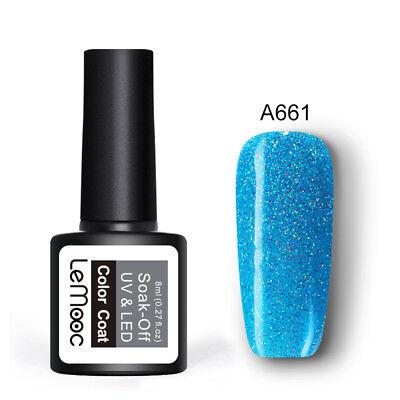 LEMOOC 8ml UV Gel Polish Nail Soak off Pure Tips Glitter Sequins Gel Varnish 9