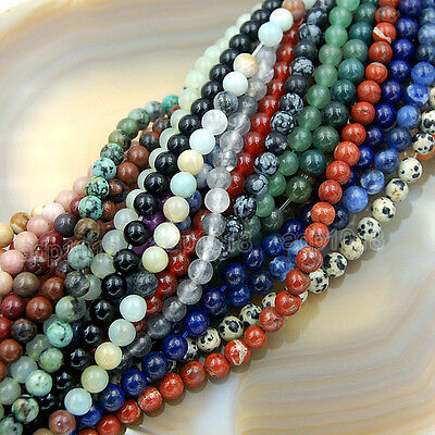 """Natural Gemstone Smooth Round Loose Beads 15""""  4mm 6mm 8mm 10mm 12mm 2"""