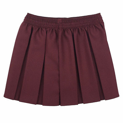 New Girls School  Box Pleated Elasticated Waist Skirt Kids School Uniform 8