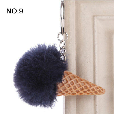 1PC Pendant Imitation Hairball Keychain Ice Cream Cute Fashion Bag Keyring 11