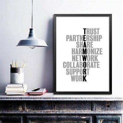 Teamwork Motivational Quotes Canvas Art Print Office Poster Wall Painting Decor