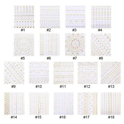 Gold 3D Nail Stickers Geometric Moon Star Stripes Wave Line Nail Art Decoration