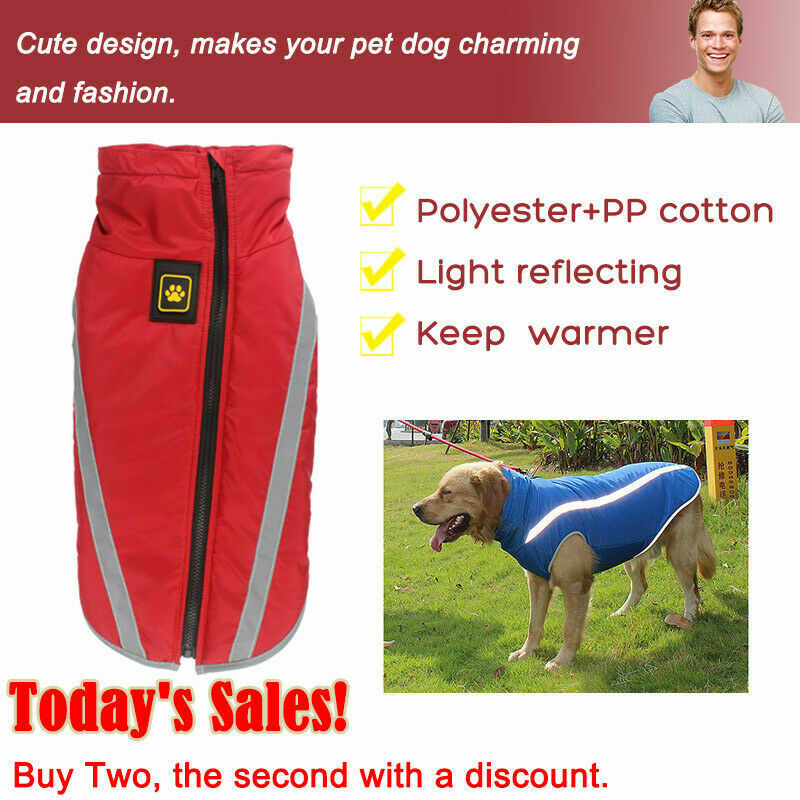 Waterproof Warm Winter Dog Coat Clothes Dog Padded Vest Pet Jacket Medium/ Large 2