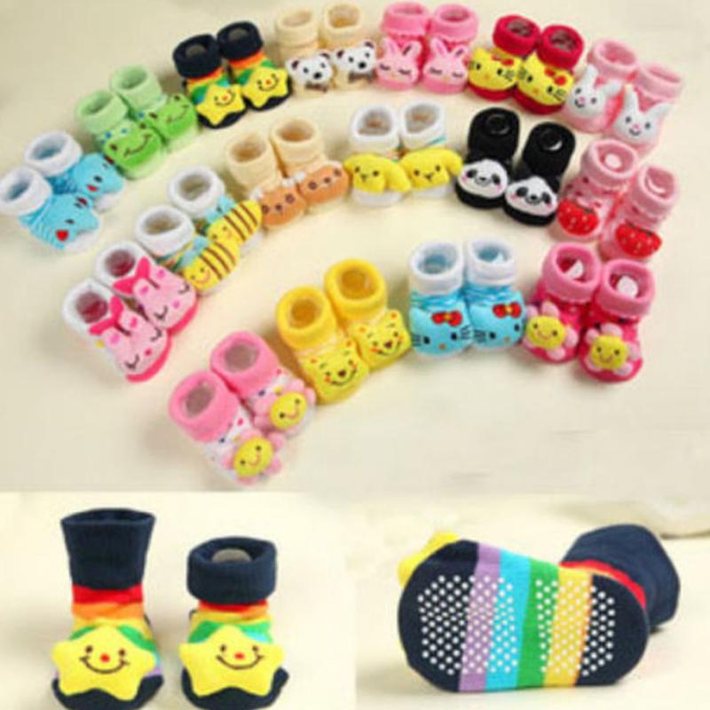 0-12 Monate Baby Jungen Socken Karikatur neugeborener Pantoffel Stiefelette Neu 2
