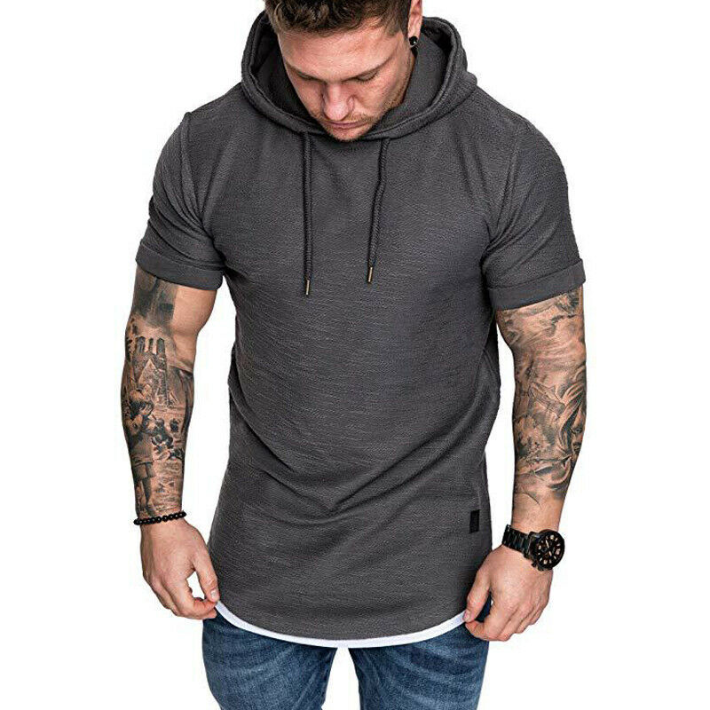 Gym Men Sleeveless Vests Pullover Hoody Hooded Tank Tops Muscle Clothes T-Shirts 5