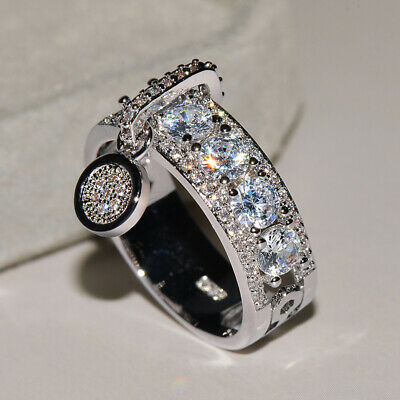 Gorgeous Round White Sapphire Engagement Ring 925 Silver Wedding Jewelry Sz4-12 2