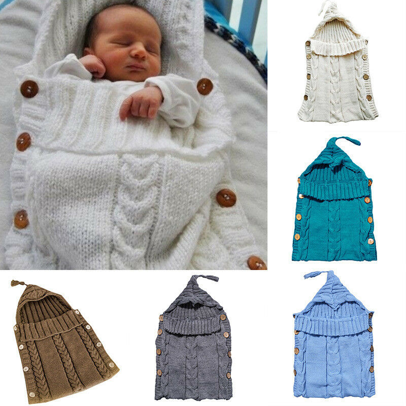 Infant Baby Kids Knitted Blanket Swaddle Sleeping Bag Sleep Sack Stroller Wrap 3