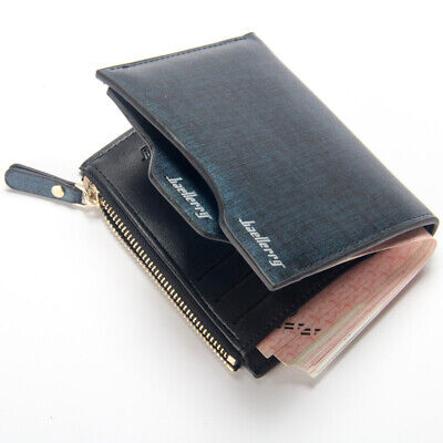 Men Leather Wallet ID Credit Card Holder Clutch Bifold Pocket Zipper Coin Purse 10