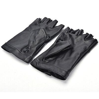 Women Punk Leather Driving Biker Fingerless Mittens Dance Motorcycle Gloves V_MR 12