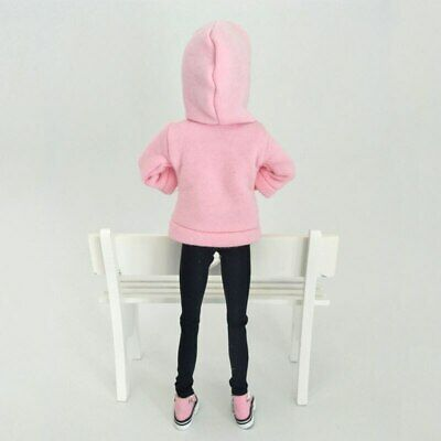 Pink Sweatshirt Doll Clothes Outfits Leather Pants Canvas Shoes For 1/6 Doll Toy 8
