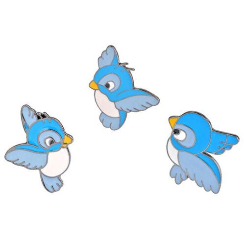 3X//Set émail oiseau bleu broche bin animal pin veste chemise badge