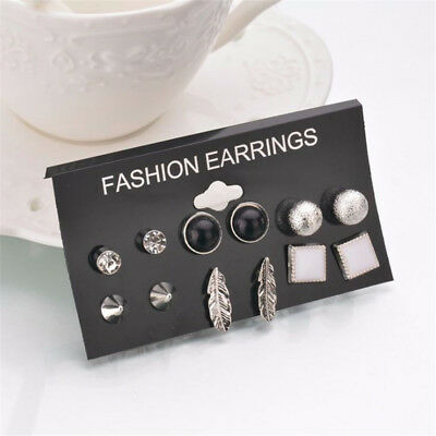 A Set Of 12 Pairs Different Style  Ear Studs Earrings Allergy Free Wholesale UK 5