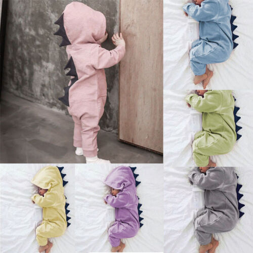 e82738b31 Newborn Infant Baby Boy Girl Dinosaur Hooded Romper Jumpsuit Clothes Outfit  2018 2 2 of 11 ...