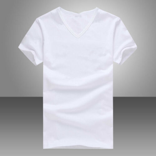 Summer Men V Neck Slim T-Shirt Tops Cotton Short Sleeve Black White 3
