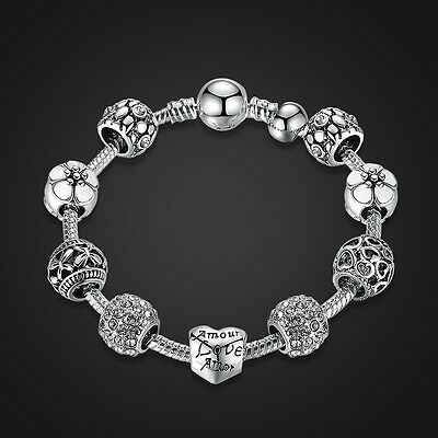 925 Sterling Silver Plated Charm Bracelet With LOVE STORY WHITE European Charms