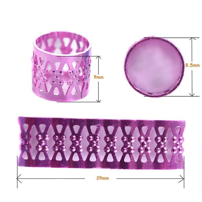 100Pcs Hair Braid DIY Dread Dreadlock Beads Adjustable Braids Cuff Clip Charm 8