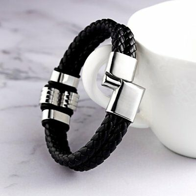 Punk Men's Leather Band Bracelet Watch Buckle Metal Magnetic Wristband Bangle 7