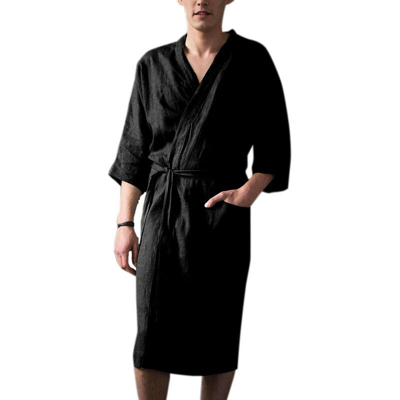 Mens Cotton Linen Pajamas Kimono Bathrobe Robe Dressing Summer Casual Loungewear 4