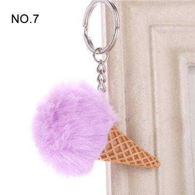 1PC Pendant Imitation Hairball Keychain Ice Cream Cute Fashion Bag Keyring 9