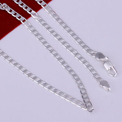 Stunning 925 Sterling Silver Filled 4MM Classic Curb Necklace Chain Wholesale 4