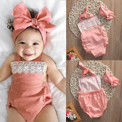 Newborn Baby Girls Romper Jumpsuit Bodysuit Infant Headband Clothes Outfits Id 3