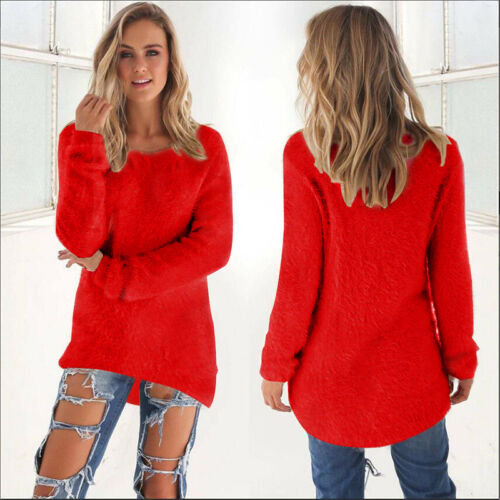 Womens Fluffy Sweatshirt Casual Sweater Long Sleeve Pullover Blouse Jumper Tops 5