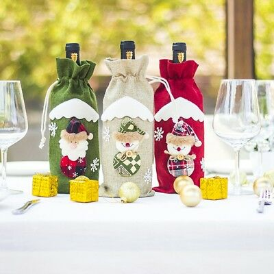 Red Wine Bottle Cover Bags Snowman Santa Claus Christmas Decoration Sequins New 4