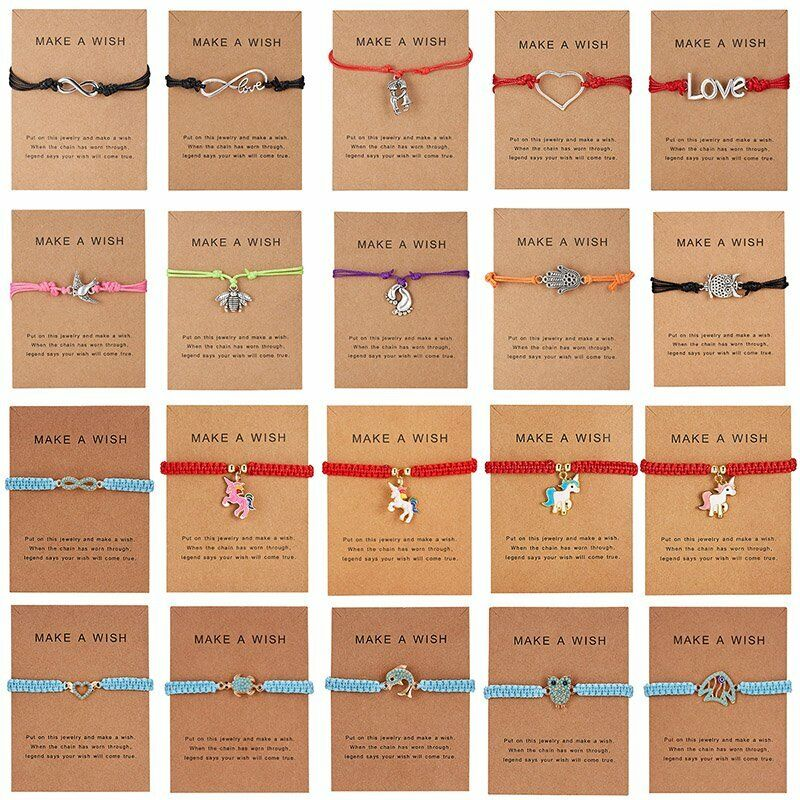 Handmade Heart Star Rope Bracelet Bangle Friendship Couple Card Jewelry Gift NEW 5