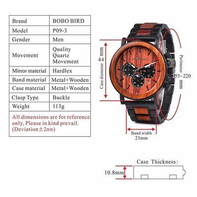 Luxury Design BOBO BIRD Japan Quartz Wrist Watch Men Women 44mm Gift Box Wood 9