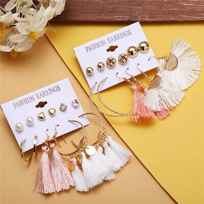 6Pairs Boho Tassel Crystal Pearl Earrings Set Women Ear Stud Dangle Jewelry Gift 11