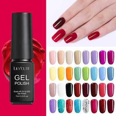146Colors LILYCUTE Gel Nail Art Polish Soak Off UV LED Gel Nail Varnish Tool 7ml 10