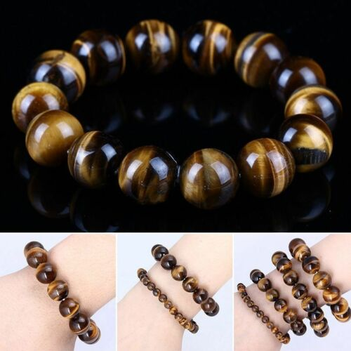 10MM Natural Colorful Tiger Eye Stone Gemstone Beads Men Jewelry-Bangle-Bracelet 2