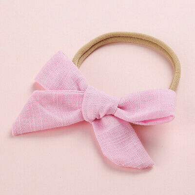 Kids Baby Toddler Cotton Linen Nylon Bow Headband Solid Hairband Hair Ring #N 8