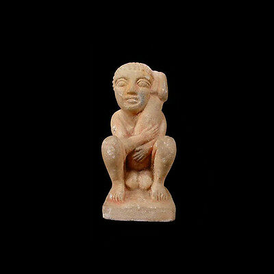 Egyptian painted limestone ithyphallic figure, Roman period, 1 BC - 1 AD a2728
