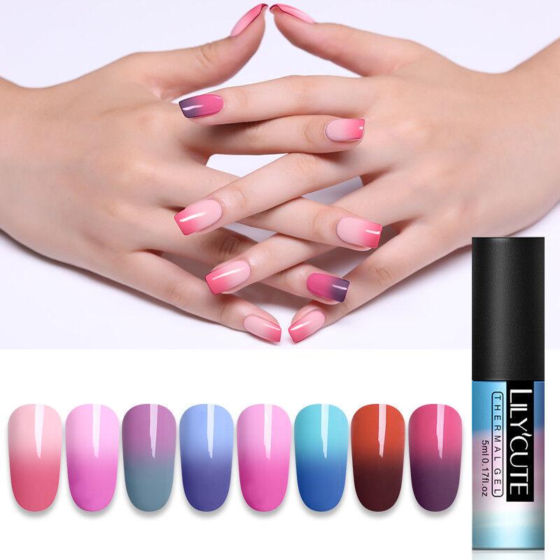 5ml LILYCUTE Nail Art Vernis à Ongles Semi Permanent Gel UV Thermal Gel Polish 4