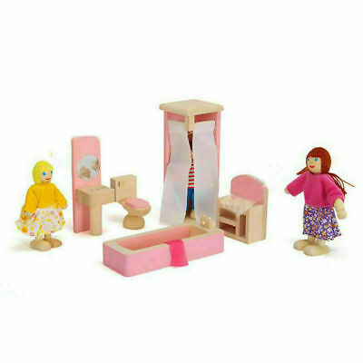 Kid Pink Wooden Furniture Dolls House Miniature 6 Room Set Doll For Gift DIY New 4